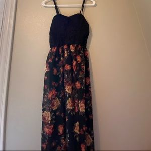 Black lace and sheer floral maxi dress
